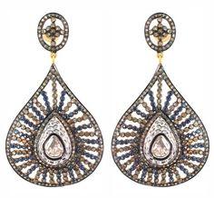 14K Gold Sapphire Rose Cut Diamond Drop Fashion Earrings Sterling Silver Jewelry #Handmade #DropDangle