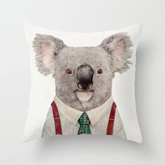 Koala Throw Pillow by Animal Crew #koala #suspenders