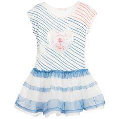 Billieblush Girls Blue Striped Dress at Childrensalon.com