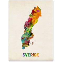 Trademark Fine Art Sweden Watercolor Map Canvas Art by Michael Tompsett, Size: 18 x 24, Multicolor