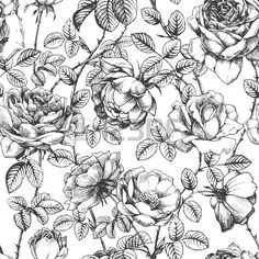 Floral pattern with hand drawn roses