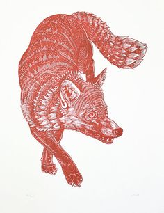 Fox (Red) Original Linocut Print  Limited edition of 20 in red (20 also in black)  Image size - 12 x 16 inches  Paper size approx - 15 x 20 inches