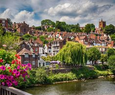 The beautiful medieval town of Bridgnorth, Shropshire on the banks of the River Severn.