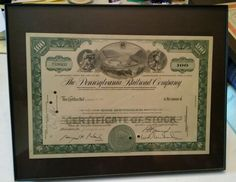 Stock/Bond: 000 The Pennsylvania Railroad Company 100 Shares Stock Certificate Dated 1966