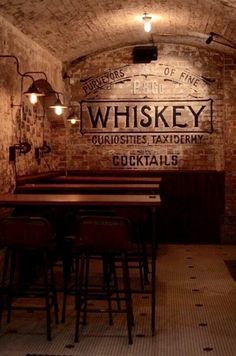 Back wall (bar) to be exposed brick printed like this with restaurant logo. Bar Interior, Interior Ideas, Interior Design, Pub Design, Restaurant Design, Billard Bar, Bar Deco, Speakeasy Bar, Whisky Bar