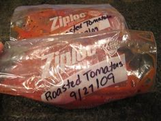 tomatoes bagged and ready for the freezer
