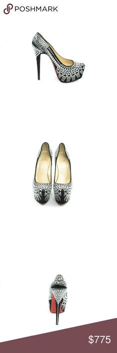 Decorapump Strass Swarovski Pump (Sku 49) We offer both new and pre-owned luxury designer shoes. All shoes have been cleaned and sanitized with revolutionary ozone and UVC technology, killing and preventing fungus, bacteria and odor. We own our entire inventory and all designer shoes have be authenticated, sanitized and restored. Christian Louboutin Shoes Heels