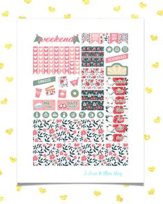 50% OFF SALE/ RED Flowers Planner Stickers for use w/ Erin