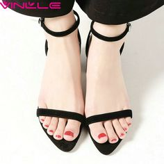 37.71$  Buy here - http://alicq8.shopchina.info/1/go.php?t=32805836350 - VINLLE 2017 Woman Sandals Summer Square High Heel Elegant Buckle Strap Two Color PU Cow Leather Solid Ladies Shoes Size 34-39  #shopstyle