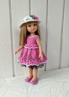 "Clothes for dolls Paola Reina doll 12""/32 cm crochet dress hat for doll clothing Barbie Clothes, Barbie Dolls, Crochet Cardigan, Crochet Hats, Doll Shop, Dress With Cardigan, Dress Hats, Handmade Dresses, Hat Making"