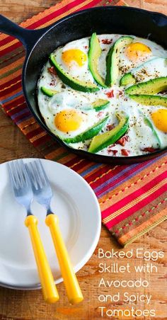 Baked Eggs Skillet with Avocado and Spicy Tomatoes is quick, healthy, and easy. (Paleo, Low-Carb, Gluten-Free) (KalynsKitchen)