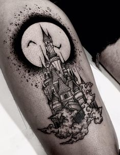 This, but with Dracula& castle from Castlevania sotn 💕 - Tattoos - Disney Tattoos, Dark Disney Tattoo, Disney Castle Tattoo, Leg Tattoos, Body Art Tattoos, Sleeve Tattoos, Cool Tattoos, Dream Tattoos, Future Tattoos