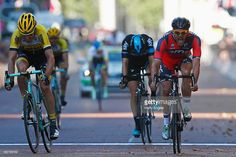 Jean Pierre Drucker of BMC Racing Team (R) beats Mike Teunissen of Team Lotto NL-Jumbo (L) to the line to win the Prudential RideLondon Surrey Classic, a 200km route through London and Surrey, on August 2, 2015 in London, England. #RideLondon #rm_112