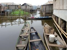 Ganvie on Lake Nokoue near Cotonou, Benin, is the largest lake village in Africa with a population of around 30,000.