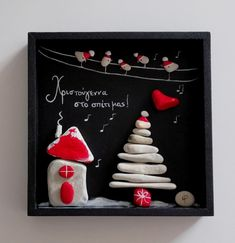 Christmas Pebble art by Zografies, artist Maria Prodromou Christmas Pebble Art, Christmas Rock, Christmas Time, Christmas Crafts For Toddlers, Toddler Christmas, Christmas Projects, Sea Glass Crafts, Sea Glass Art, Art Activities For Kids