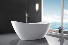 Acrylic Tub with 55 Gallon Capacity Adjustable Leveling Legs and Drainpipe Included in White Bathroom Renos, Master Bathroom, Basement Bathroom, Bathroom Ideas, Bathrooms, Stand Alone Bathtubs, Best Bathtubs, Modern Farmhouse Bathroom, Bathroom Inspiration