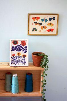 """2 cartes postales """"Papillons et fleurs bleues"""""""
