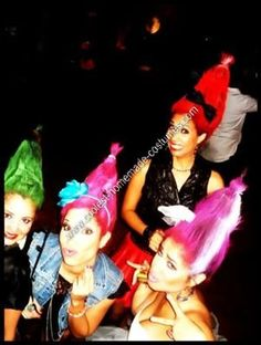 Trolls Halloween Group Costume Idea: Me and my girls decided to dress up like trolls this year, but with clothes, so we used the craziest clothes in our closet.   More important than the costume