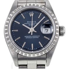 Rolex Pre-owned Rolex Date Stainless Steel 69240 24mm Oyster Bracelet... ($3,295) ❤ liked on Polyvore featuring jewelry, watches, bracelet jewelry, rolex wrist watch, buckle watches, preowned watches and rolex watches