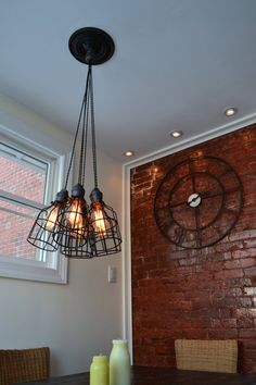 Industrial Pendant Light- Ceiling Light - Industrial Light W/ 5 Pendants [Edison Bulbs Sold Separately] etsy Industrial Bathroom Lighting, Industrial Ceiling Lights, Industrial Style Lighting, Industrial Light Fixtures, Rustic Lighting, Vintage Lighting, Modern Industrial, Lighting Design, Pendant Lighting
