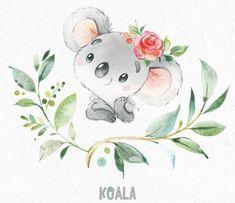 Learn To Draw Koala. Little animals watercolor clipart Australia koala Animals Watercolor, Watercolor Flowers, Watercolor Paintings, Bear Watercolor, Cute Animal Drawings, Cute Drawings, Illustration Koala, Cute Images, Nursery Art