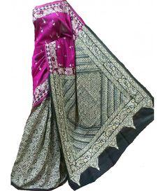 Pink Silk Kantha Work Saree