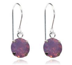 Violet Opal Single Crystal Drop Earrings - $9.80