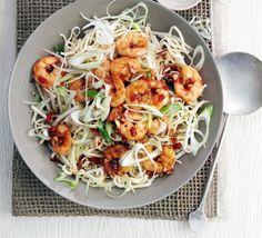 Garlic chilli prawns with sesame noodles | BBC Good Food