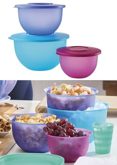 Tupperware® Impressions Classic Bowls Set. Features 5 1/2-cup/1.2 L Small, 10-cup/2.5 L Medium and 18-cup/4.2 L Large, each with liquid-tight seal. Bowls nest for compact storage.