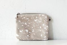 Splatter LeatherSuede zipper coin purse by CORIUMI on Etsy, $33.00