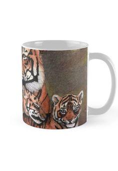 """Family of tigers"" Mug by Savousepate on Redbubble #mug #drawing #felines #cubs"