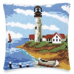 At the Lighthouse Quickpoint Pillow Top Kit - Cross Stitch, Needlepoint, Embroidery Kits – Tools and Supplies