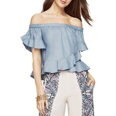 Bcbgmaxazria Trixy Off-the-Shoulder Ruffle Top (427.995 COP) ❤ liked on Polyvore featuring tops, dark ash blue, off the shoulder frill top, ruffle top, blue off the shoulder top, off the shoulder flounce top and off the shoulder ruffle top