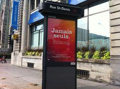 Ajout tardif et nécessaire dans notre folio de la campagne Jamais seuls, pour la Fondation Tel-Jeunes.