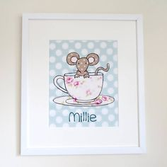 A fun illustration of a mouse in a teacup originating from a drawing using ink, watercolour and fabrics.Prints can be just the character on its own or can include a name, date, weight, christening date, or short message such as 'Love from Mummy and Daddy' or Happy 1st Christmas' Designs available include a princess, mouse in teacup, reindeer, dinosaur, robot, lion, bird cage and rocketGive a personalised and thoughtful gift perfect for new babies and occasions such as Christenings, birthdays…