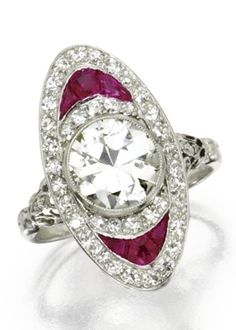 Platinum, Diamond and Ruby Ring, Circa 1920. Set in the centre with an old…