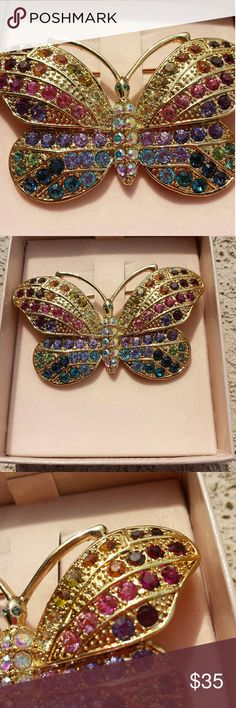 Kirk's Folly Multicolored Rainbow Butterfly Pin Multicolored rainbow pin in a butterfly shape, from Kirk's Folly. New in box. Measures about 3 inches across. kirk's Folly  Jewelry Brooches