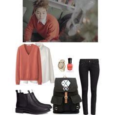 """EXO """"Miracle in December"""" MV Xiumin Inspired Outfit by smokingcrayonz on Polyvore featuring Uniqlo, H&M and Deborah Lippmann"""
