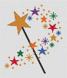 Magic wand cross stitch pattern, simple printable counted cross stitch, fairy…