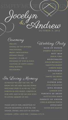 Elegant Wedding Ceremony Program Wedding Signage Reception Wedding Party Bridal Party Order Of Events Printable Or Printed Programs I Like How They Use 2 Different Colors For The Text And How The Script Font Is Used To Title The Different Sections Wedding Ceremony Ideas, Order Of Wedding Ceremony, Wedding Signage, Order Of Wedding Reception, Wedding Processional Order, Wedding Ceremony Outline, Reception Party, Wedding Venues, Trendy Wedding