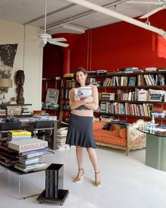 Martine Assouline in her office, New York. I love the red wall and her look ~ William Waldron Photography New York Office, Assouline, Red Walls, Desk Set, Badass Women, Book Publishing, Nyc, Office Ideas, Offices