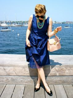The Boston Fashionista: How to Wear Summer 2012 Jewelry Trends with Stella & Dot  navy blue dress, navy blue, Stella & Dot