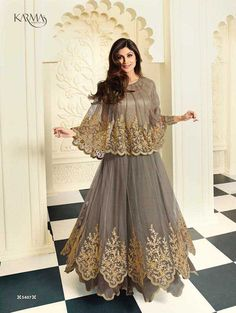 Shilpa Shetty Grey Net Floor Length Salwar Kameez, Huge Collection of Karma Trendz latest Dress Materials and Shilpa Shetty Shalwar Suit available only with best price india.