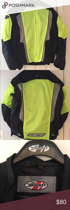 Joe Rocket Men's Textile Motorcycle Jacket 2XL Like new condition men's size 2XL textile motorcycle jacket. Waterproof-treated and fully armored. Features snaps to attach to motorcycle pants. Has removable full sleeve rain liner. Ventilated for cooling. Color is black with high-viz neon to be conspicuously noticed on the road. Only used one season. Joe Rocket Jackets & Coats