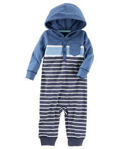 Hooded Jersey Pocket Romper | Carters.com