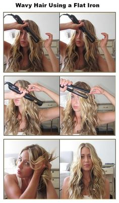 Wavy Hair Using a Flat Iron Tutorial - Hairstyles and Beauty Tips Curled Hairstyles, Straight Hairstyles, Cool Hairstyles, Wedding Hairstyles, Rainy Day Hairstyles, Curling Iron Hairstyles, Easy Hairstyles For School, No Heat Hairstyles, Flat Iron Curls