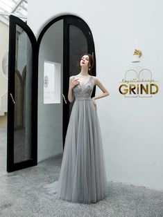 Gray party dress v neck evening dress tulle long prom dress beads formal dress Grey Party Dresses, V Neck Prom Dresses, Lace Evening Dresses, V Neck Dress, Bridesmaid Dresses, Formal Dresses, Wedding Dresses, Tulle, Beads