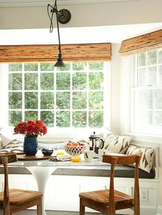 If you want to create a small breakfast nook in a bay window in your kitchen, check out these charming, rustic, and modern ideas. Get inspired by the decor and layout plans used to make these kitchens look beautiful and inviting.