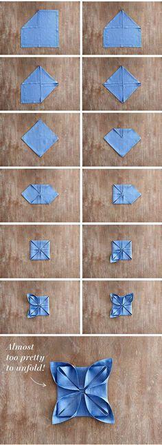 Napkins folding – Instructions for 10 festive shapes diy nap. Napkins folding – Instructions for 10 festive shapes diy napkins fold instructi How To Fold Towels, Fabric Origami, Napkin Origami, Napkin Folding, Wedding Napkins, Holiday Tables, Dinner Table, Dinner Napkins, Christmas Diy