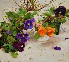 Purple Pansies by Kathy Anderson